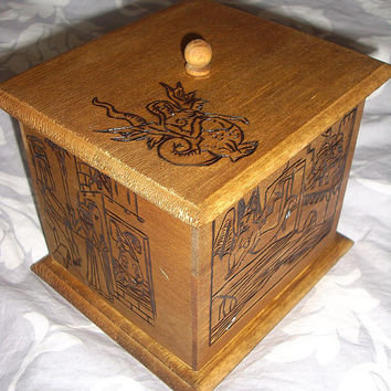 Wooden box, carved with medieval pictures, fairy Melusine story, fantasy, medieval, storage box, jewelry casket