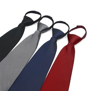 Wholesale Classic Neckwear 10CM Width Necktie For Worker Guard Older Male Pure Solid Color Striped Zipper Ties