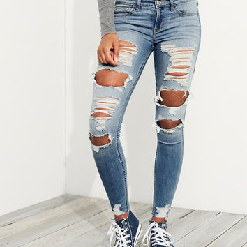 Girls Stretch Low-Rise Super Skinny Jeans | Girls Bottoms | HollisterCo.com
