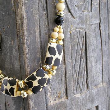 Mid century Leopard necklace, Ivory Black retro Necklace, 60s jewelry, Mad men, Evening jewelry, Hollywood Regency, Glamor