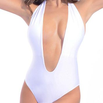 2017 New Women Stylish Open Back Halter One Piece Swimsuit