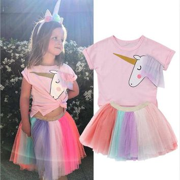 Summer Children Baby Girl Unicorn Clothes Short Sleeve T shirt Tops Rainbow Tutu Skirt 2PCS Outfit Princess Kids Clothing Set