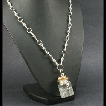 Holy Water Vial Pendant on Handcrafted Necklace, One of a Kind OOAK, Large Bottle Vial 30mm x 20mm