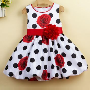Baby Girls Dress Vintage polka dot Infant Evening Party Dress Baby Girl Party Dress Printed Floral Wedding Dress L1232xz