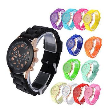 men women girl boy unisex silicone jelly wrist watch gift box  number 1