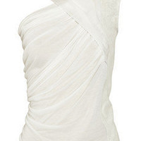 Rick Owens | Draped jersey, chiffon and leather top | NET-A-PORTER.COM