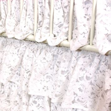 Waterfall Ruffle 3 Tier Crib Skirt | Vintage Lace White