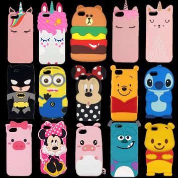 For iPhone X/5/5S/SE/6/6s/7/8/plus New 3D silicon Minnie Stitch pig Batman Minions unicorn baby fashionable soft Phone back case