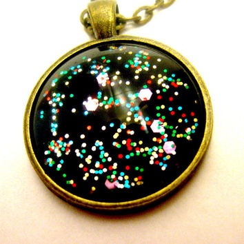 Galaxy Jewelry Outer Space Jewelry Planet Jewelry Black Rainbow Asteroid Glitter Galaxy Necklace Astronomy Astrology Constellation Science