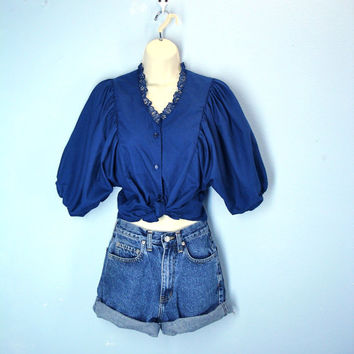 Full Sleeve Poet Blouse / Navy Blue 1980s Blouse Top