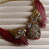 Red  Angel wings heart goldtone  statement  necklace