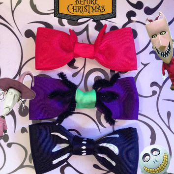 Lock, Shock, And Barrel- Tim Burton's Nightmare Before Christmas Inspired Mini Bows Trio