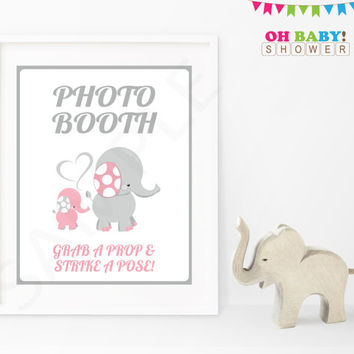 Photo Booth Sign, Photo Booth Props Sign Printable Baby Shower Sign Pink and Gray Elephant Decorations Girl Instant Download EL0005-lp