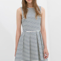 Blue and White Shirtwaist Sleeveless A-line Pleated Striped Mini Dress