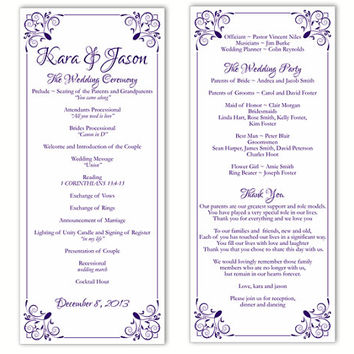 Wedding Program Template DIY Editable Word File Instant Download Program Purple Program Floral Program Printable Wedding Program 4x9.25inch