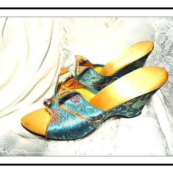 Turquoise Boudoir Slippers  - Vintage Brocade Wedge Heels Shoes by Idlelizers -  SH-001a-032813000