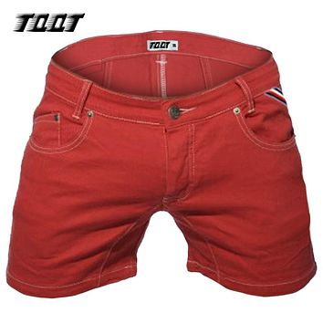 TQQT man jean shorts midweight slim jeans straight low waist 5 pockets short pleated stretch colored short jeans 5P0602