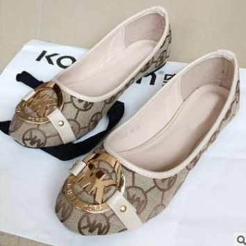 MK Michael Kors Fashion Shoes Print Beige Fashion Women Shoes Comfort flat shoes Beige