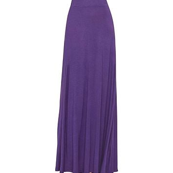 Women's Purple Maxi Skirt With Fringes