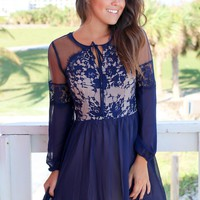 Navy Long Sleeve Short Dress with Lace Top