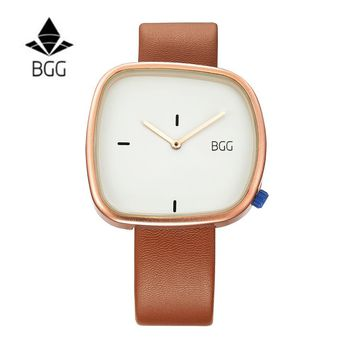 Black BGG Pebble leather Lady Creative watch minimalist quartz fashion watch man and women watch hombre montre Male Clocks