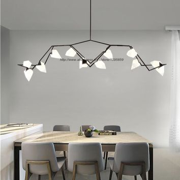 Branches Peach Modern Chandelier Light Pendant Lamp Ceiling Fixture Lighting Gold/Black White Shade 2/5/8/12 Lights