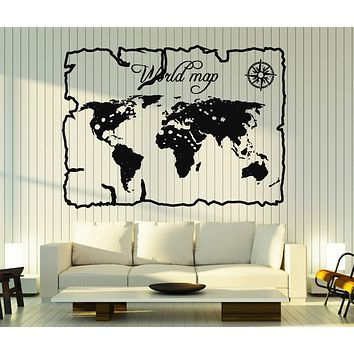 Wall Stickers Vinyl Decal Vintage World Map Compass Home Decor Unique Gift z4683