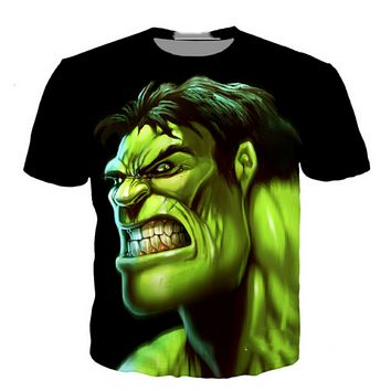 Hulk Cartoon 3D graphic print women/men's Short Sleeve Casual Tops T-Shirt
