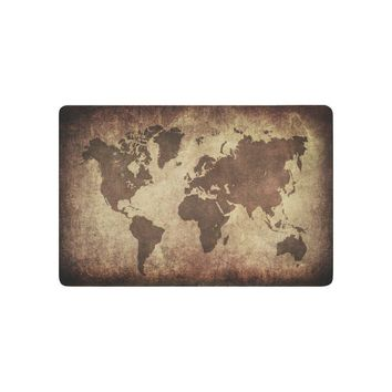 Autumn Fall welcome door mat doormat Brown World Map Anti-slip  Home Decor, Vintage Globe Geographical Earth Indoor Outdoor Entrance  Rubber Backing AT_76_7