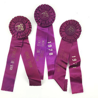 Vintage 1970s New England Equestrian Ribbons / Lot of 3 / Instant Collection / Horse Show / Marsala Purple / Awards Prizes / Equine Sport