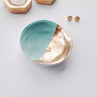Mint and Gold Jewelry Dish/ Mint and Gold Ring Dish
