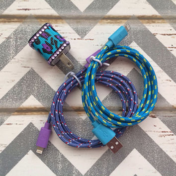 New Super Cute Jeweled Purple/Turquoise Cheetah Print Designed USB Wall Connector + 2  3ft IPhone 5/5s/5c Cable Cord