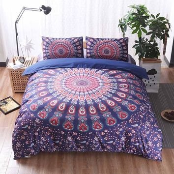 3pcs Purple Comforter Bohemian Bedding Set Linen Mandala Duvet Cover Set Soft Bedclothes Plain Twin Queen King Size Boho Sheets