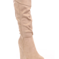 Light Taupe Slouchy Mid Calf Wedge Boots Faux Suede