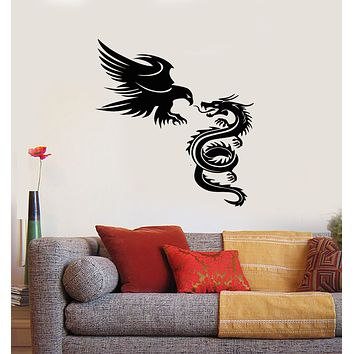 Vinyl Wall Decal Dragon with Eagle Fantastic Beasts Animal Bird Stickers Mural (g2923)