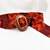 Woven Belt, Wood Buckle, Mexican Woven Belt or Sash, Red and Orange, Vintage Accessories