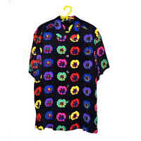 90s LAUREL Floral Poppy Silk Blouse Womens Vintage Button Up Top Pop Art Large L