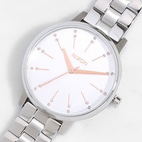 Nixon Kensington Silver and Light Gold Crystal Watch