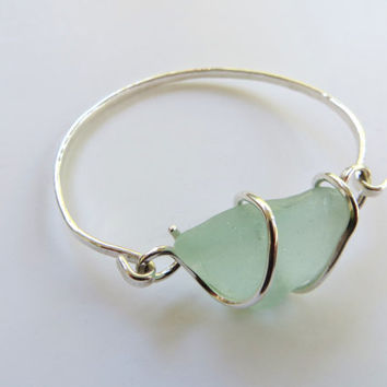 Pale Green Sea Glass Bracelet Sterling Silver Seaglass Bangle Bracelet Hook and Latch