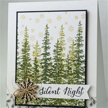 GJCrafts 5Pc/lot 14*14cm New Decorative Clear Stamps For Scrapbooking Card Album Merry Christmas Wonderland Wood-Mount Stamp Set