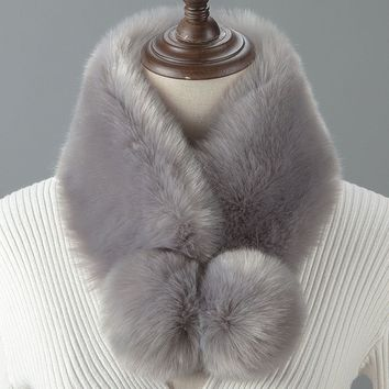 Fashion Bobble Faux Fur Collar Wrap Scarf