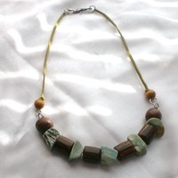 Hobo chic necklace / wood bead necklace / OOAK / upcycled jewelry/ earth tones