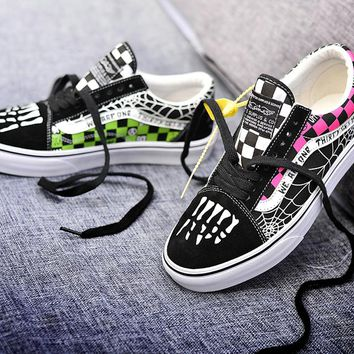 Trendsetter Vans Sk8-Mid Crazy Widow Old Skool Flats Sneakers Sport Shoes