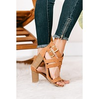 Happy Thoughts Double Buckle Heeled Sandals (Distressed Camel)