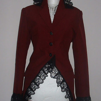 ladies long red coat jacket riding jacket fantasy goth steam punk burlesque corset back US size 8 10 12 Victorian