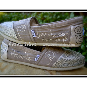 Custom Hand Painted TOMS Shoes - Proverbs 31 - Heather Grey and Pearl