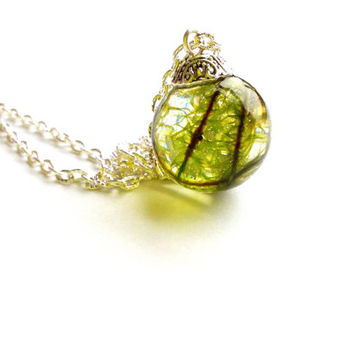 Sphere shape resin pendant with real green moss Clear resin jewelry Flower pendant Real dried moss  necklace Floral jewelry