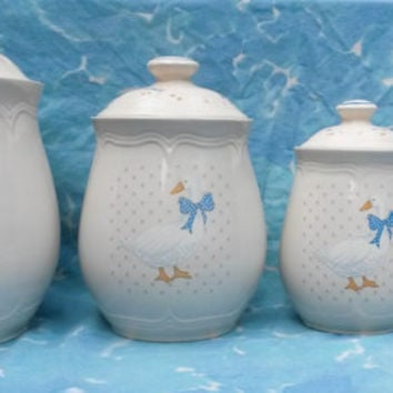 Tienshan  Aunt Rhody-Mother Goose-Canister Set of 4-Vintage 80's-Flour-Sugar-Coffee-Tea