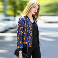 Blue Golden Floral Front Zipper Jacket