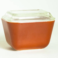 Vintage 501 Pyrex Autumn Harvest Refrigerator Dish with Lid, Brick Rust Red Fridgie Small Baking Dish from Wheat Pattern